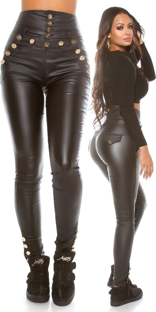 Čierne nohavice s vyšším pásom - L Koucla in-ka1127bl