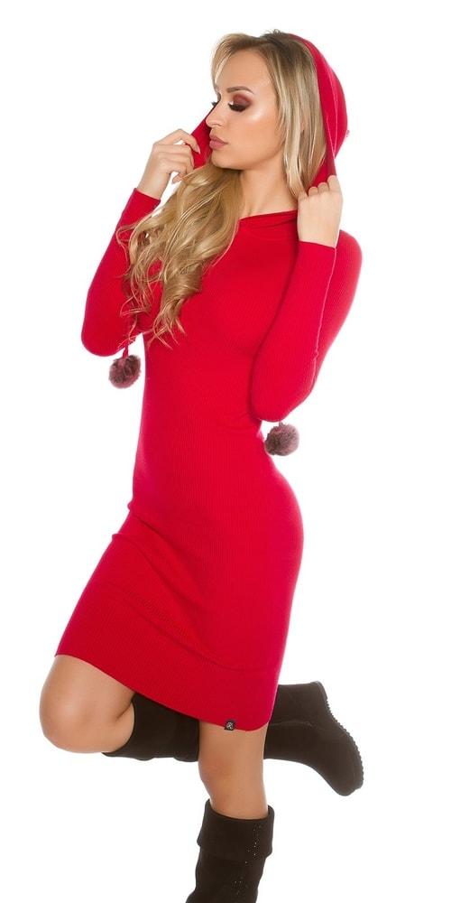 Dlhé úpletové šaty s kapucňou-červené - Koucla - Úpletové šaty ... 9da3362f28