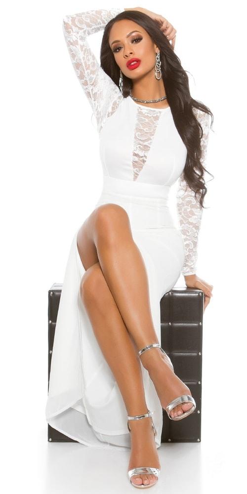 Dámske biele dlhé šaty - Koucla - Večerné šaty a koktejlové šaty ... e70133117c9