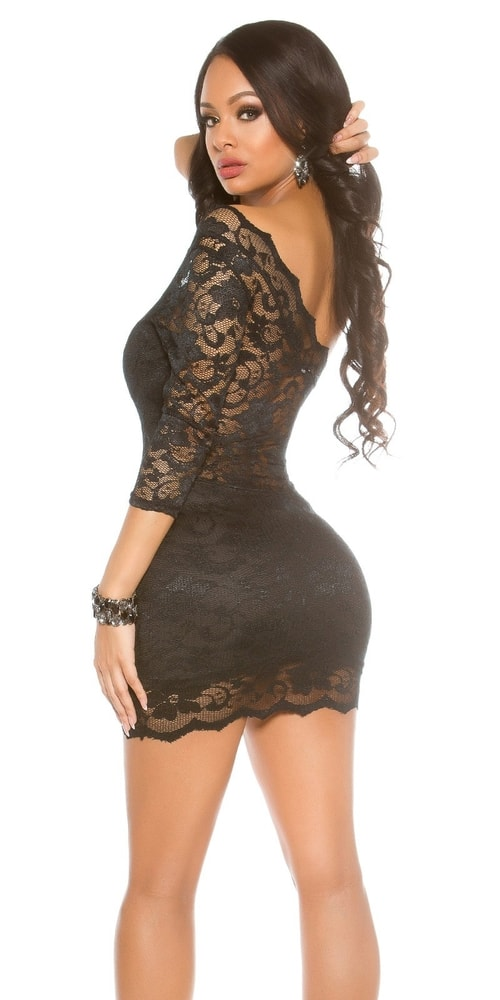 Čierne mini šaty s čipkou - Koucla - Večerné šaty a koktejlové šaty ... be2dc4c105c