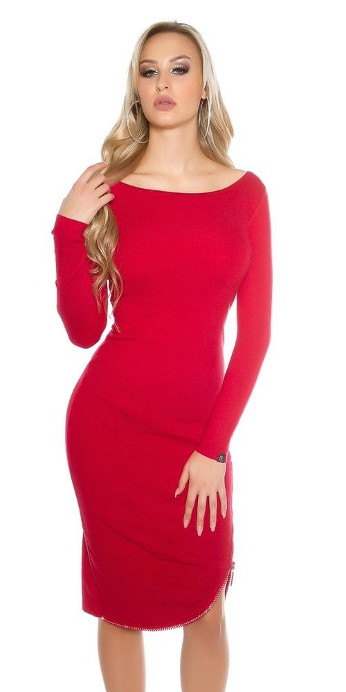 Červené úpletové šaty so zipsom - Koucla - Úpletové šaty - vasa-moda.sk 11a6a39c20