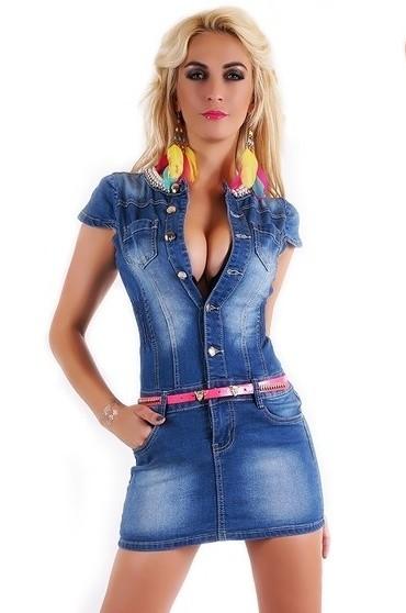Dámske džínsové šaty - EU - Krátke letné šaty - vasa-moda.sk 120cf271959