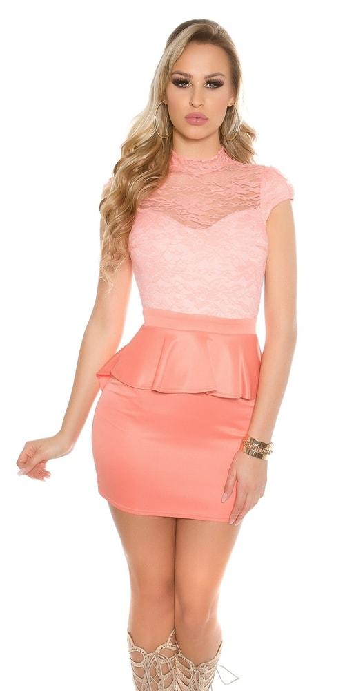 fee590b9226d Čipkované šaty s peplum - Koucla - Večerné šaty a koktejlové šaty ...