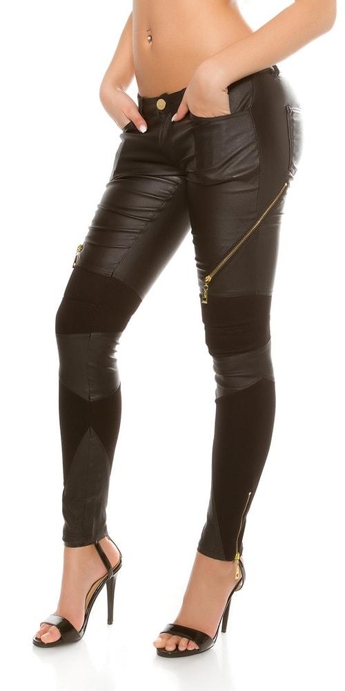 Koženkové čierne nohavice - L Koucla in-ka1180bl