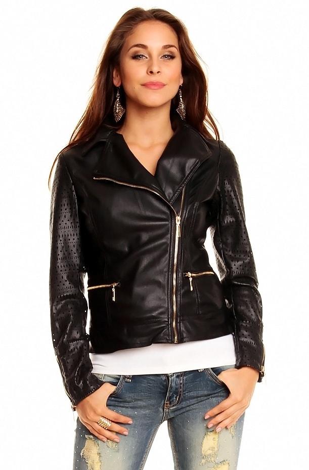 Koženková bunda dámska - Voyelles - Bundy dámske koženkové ... 8cb0a41bd98