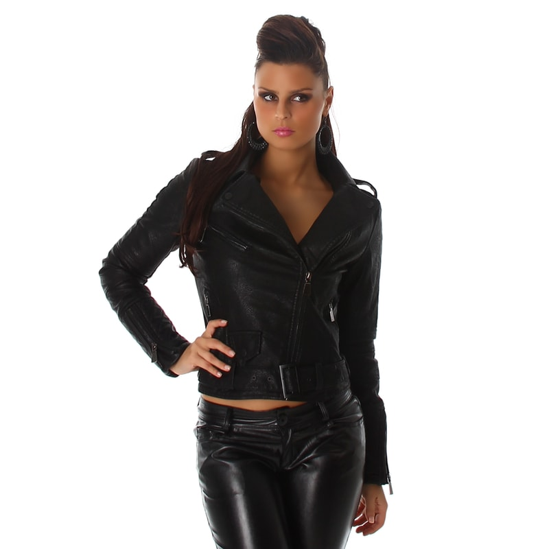 Koženková bunda dámska - Voyelles - Bundy dámske jarné a jesenné ... b548e3675ab