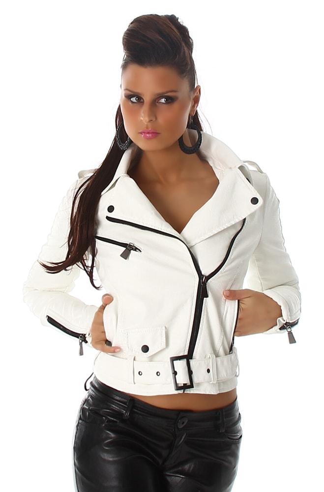 Koženková bunda - krivák - Voyelles - Bundy dámske koženkové ... 35b20085797
