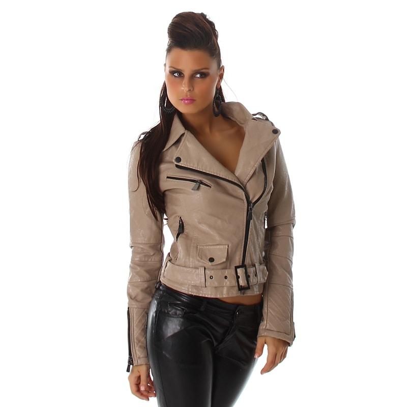 Dámska koženková bunda - Voyelles - Bundy dámske jarné a jesenné ... 45445396ba5