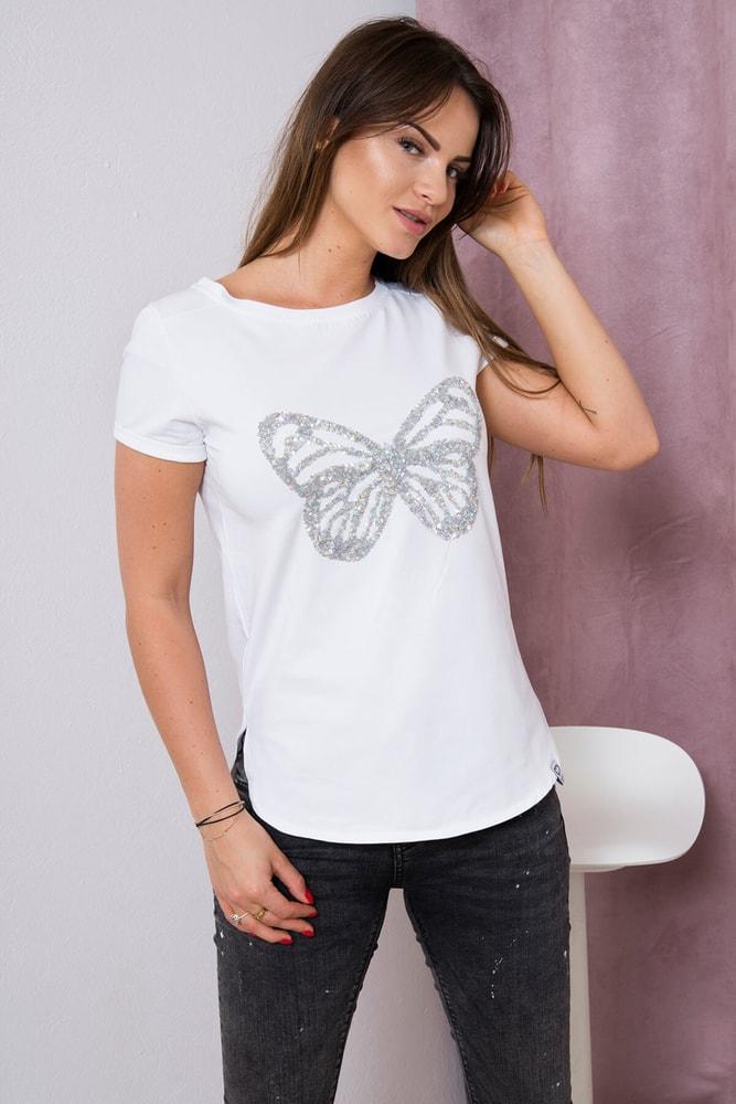 Bílé tričko s aplikací motýla Kesi ks-tr61047wh