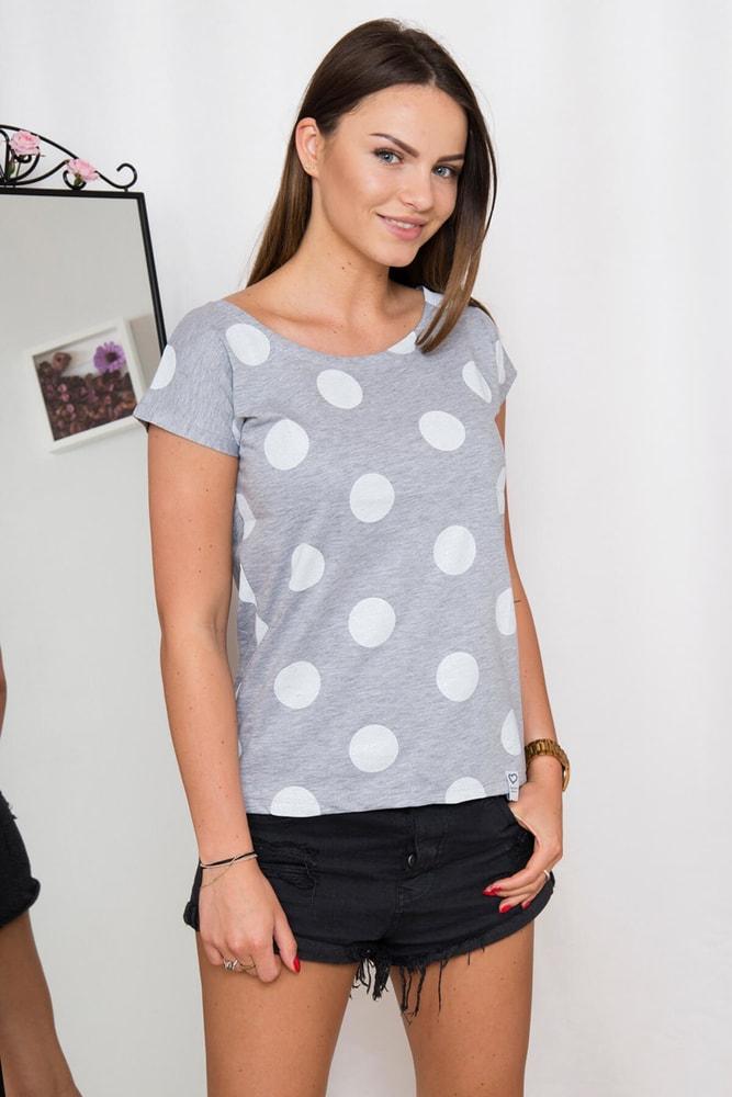Šedé tričko s bodkami - M/L Kesi ks-tr60953gr