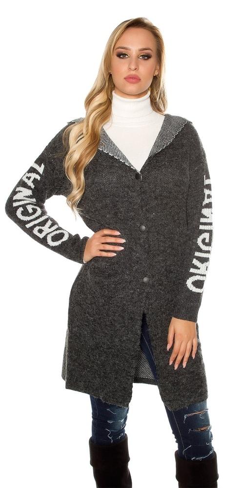 Dámsky pletený kabátik s kapucňou Koucla in-sv1477bl