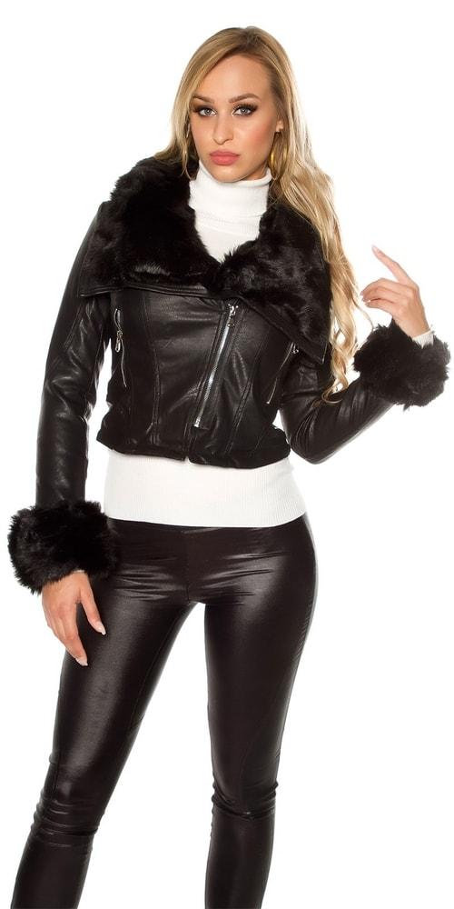 Koženková dámska zimná bunda - XXL Koucla in-bu1081bl