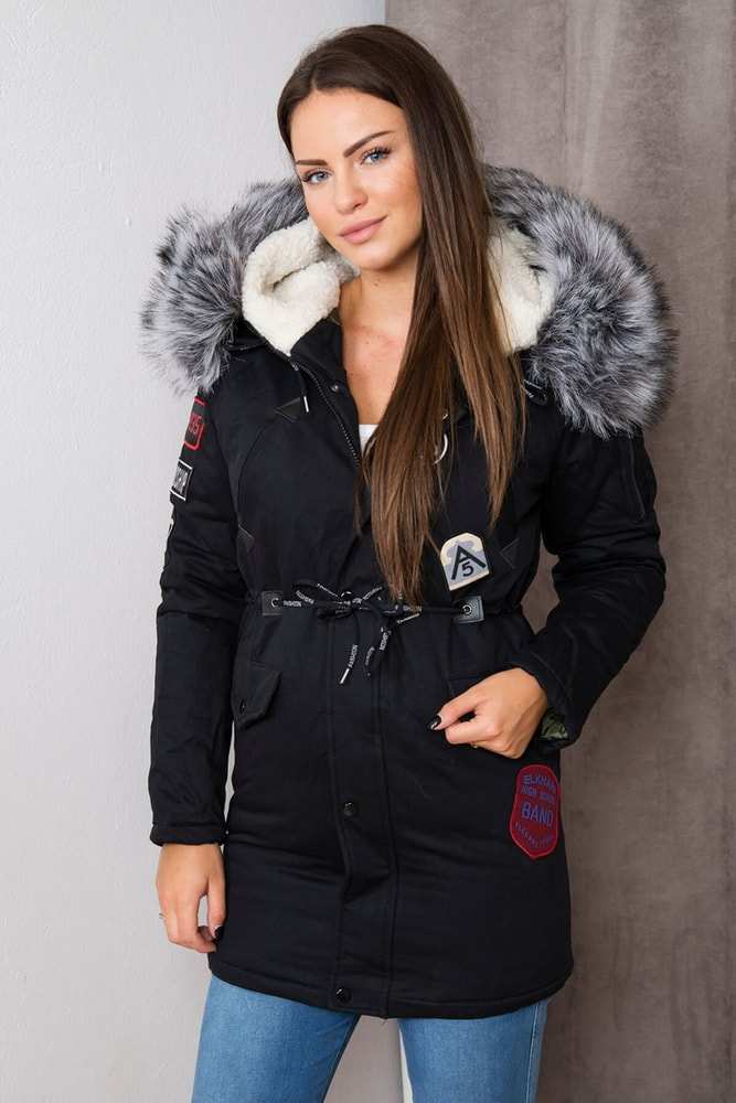 Zimná dámska bunda s kapucňou - XXXL Kesi ks-bu1608bl