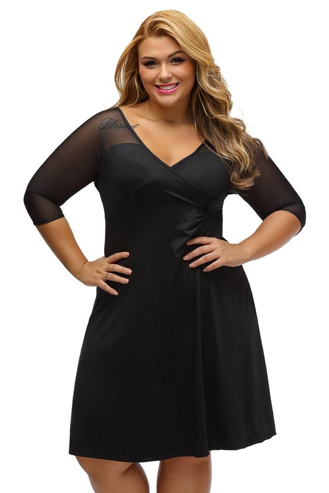 Elegantné čierne šaty XXL - DAMSON - Spoločenské šaty pre plnoštíhle ... b1f88a5f20d