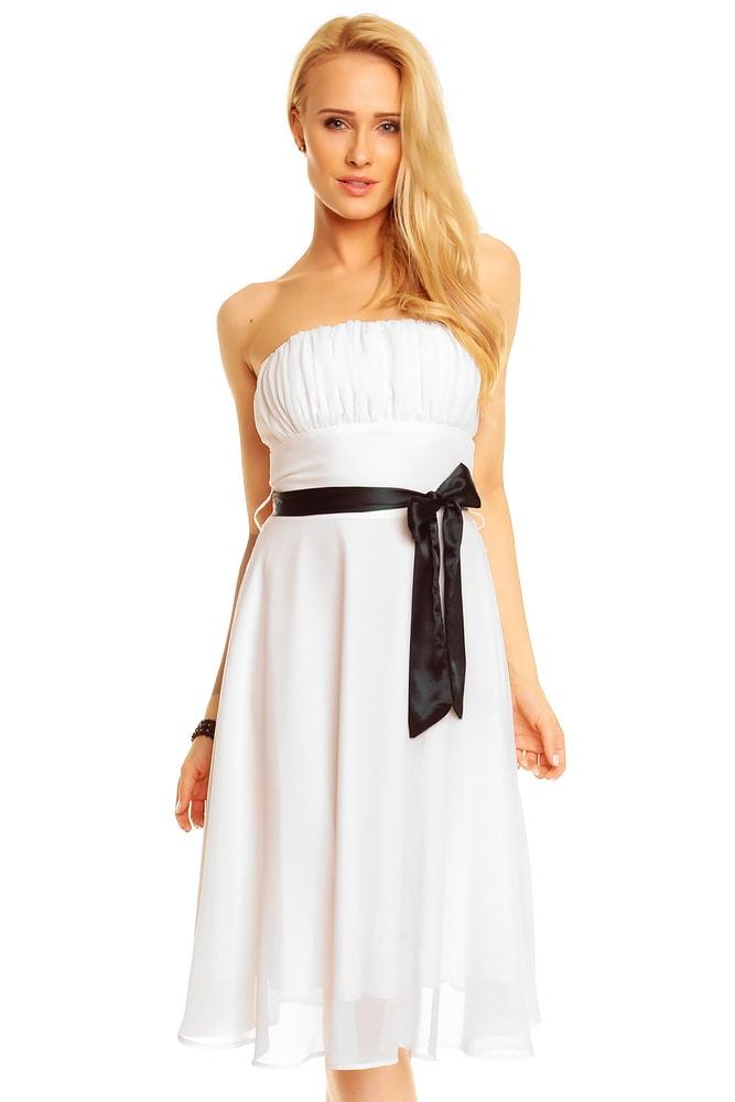 Bílé plesové šaty s mašlí - Mayaadi - Krátké plesové šaty - i-moda.cz 0b94523c35