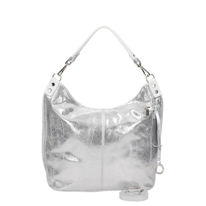 Stříbrná kožená kabelka Vera Pelle gl-ka1095si