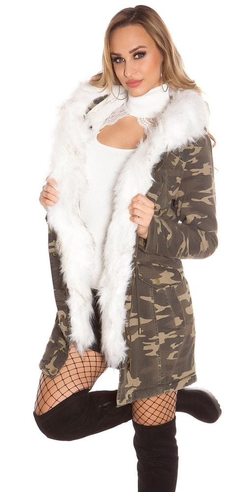 Zimná dámska bunda s kapucňou Koucla in-bu1183wh