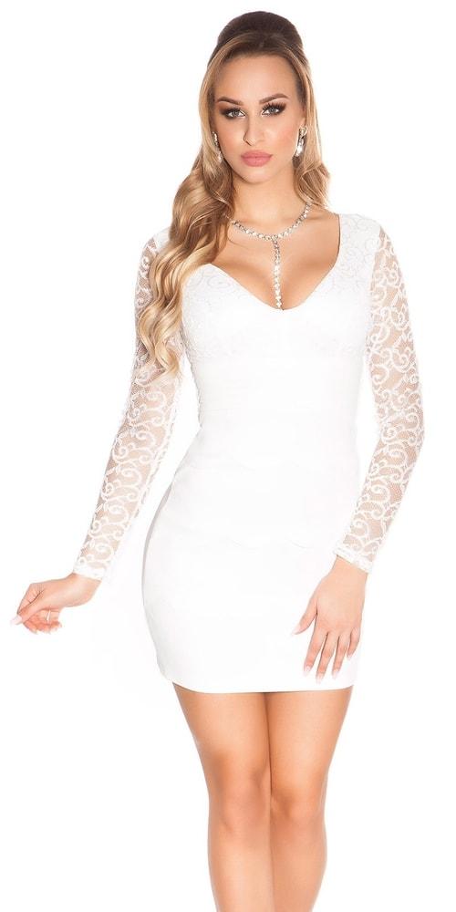 Bílé krajkové šaty - Koucla - Pouzdrové šaty - i-moda.cz f5d1a8d8f1