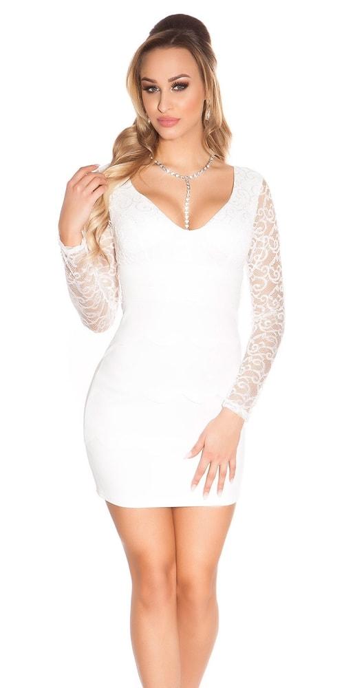 Biele čipkované šaty - Koucla - Puzdrové šaty - vasa-moda.sk 30a1d014c3b
