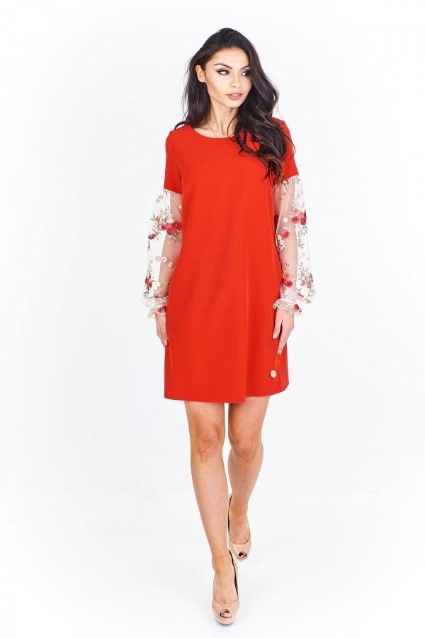 f43496ac8395 Červené dámské šaty - 38 Ptakmoda pt-sat1161re