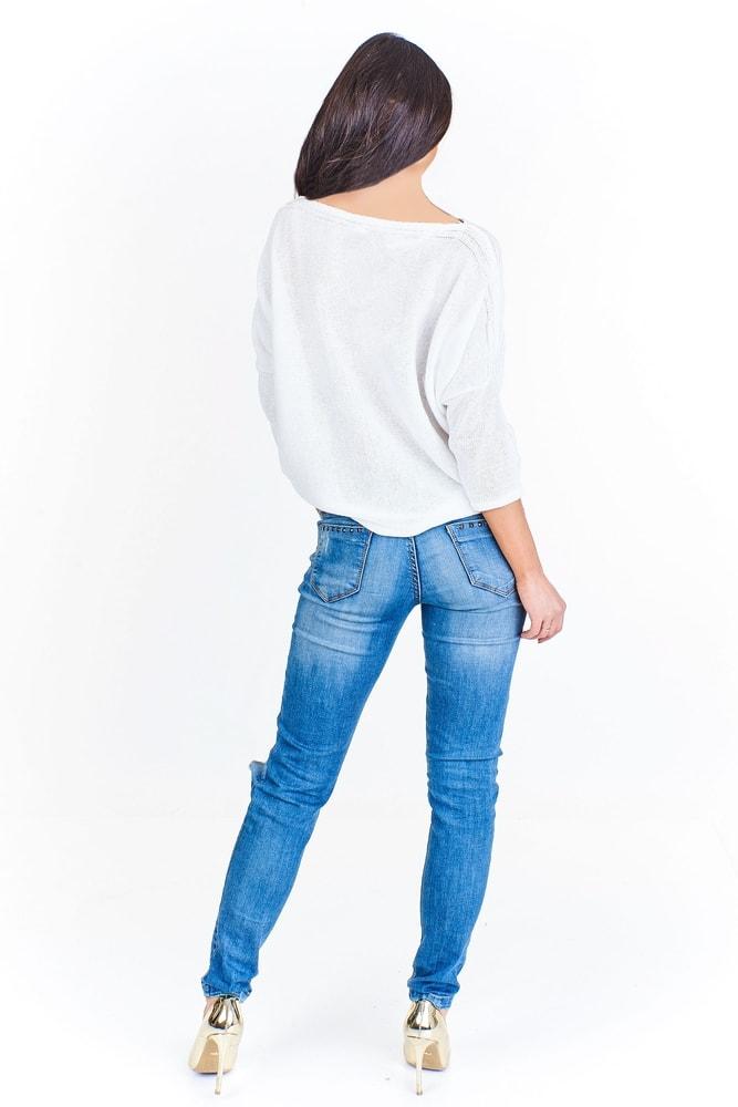 581a7f080a2 Dámský bílý svetr - Ptakmoda - Dámské svetry - i-moda.cz