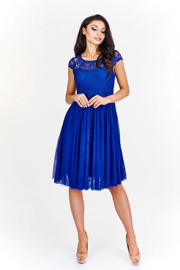 Krajkové modré šaty - Ptakmoda - Krátké plesové šaty - i-moda.cz 01bcd854c53