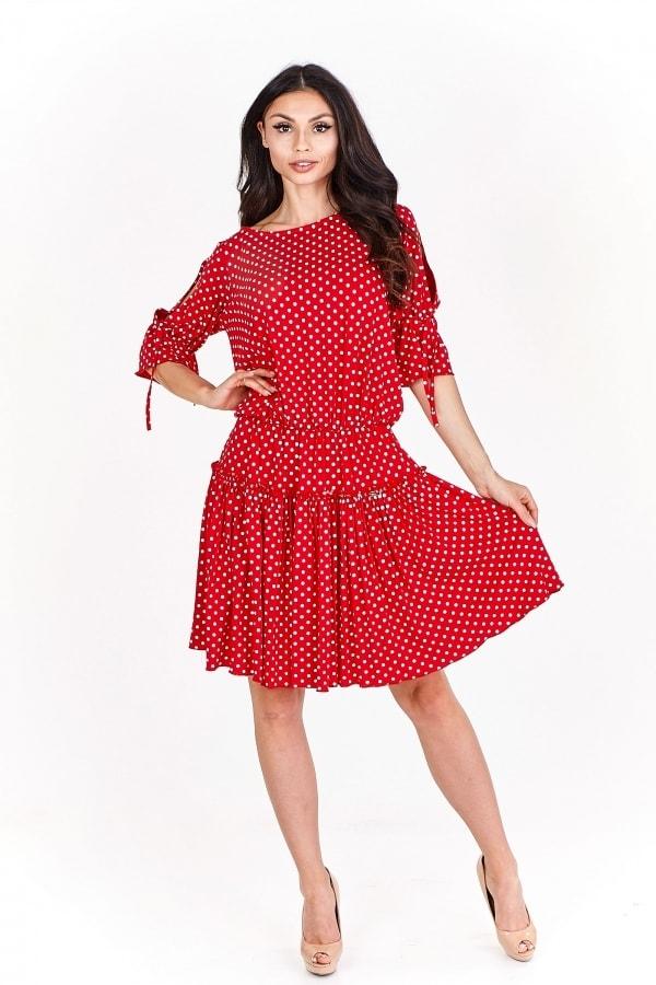 Dámské šaty s puntíky - XL Bergamo pt-sat1517re