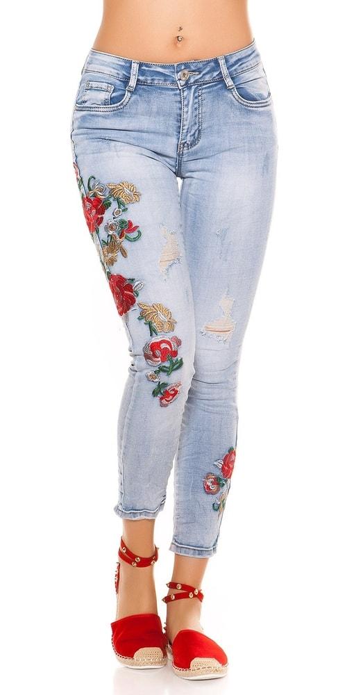 68ab729e6329 Dámske skinny džínsy s výšivkou - 36 Koucla in-ri1504