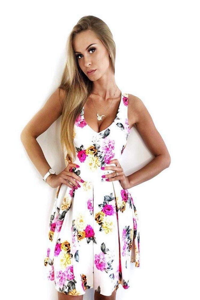 Dámske kvetované šaty - Ptakmoda - Krátke letné šaty - vasa-moda.sk e901ab5dab8
