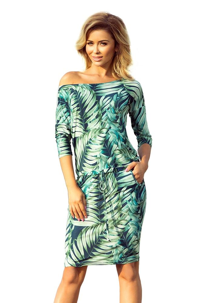 Dámské šaty - zelené listy - L Numoco nm-sat13-92 f0f2b268db7