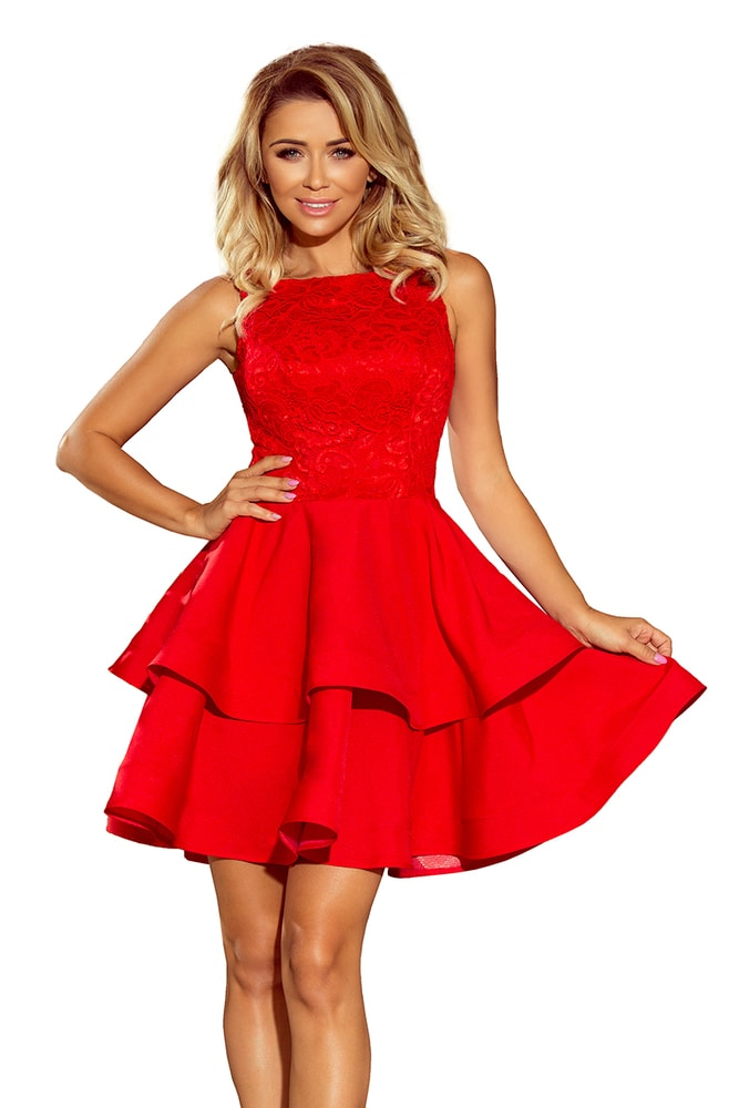 Červené plesové šaty - Numoco - Krátke plesové šaty - vasa-moda.sk 88a519e5cfd