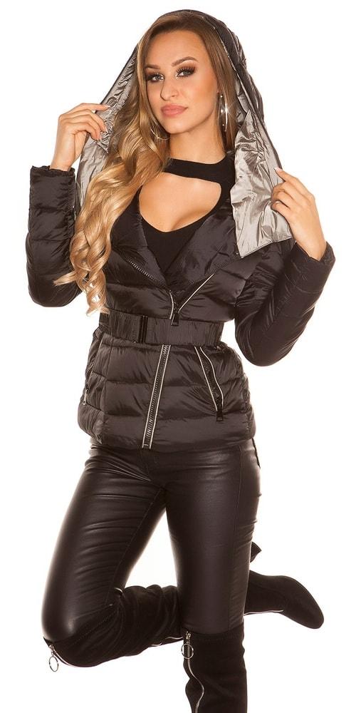 Zimná krátka bunda s opaskom - S Koucla in-bu1019bl