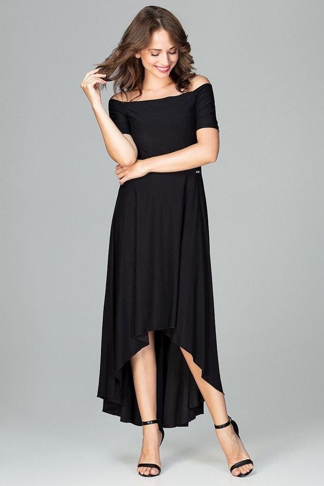 Čierne elegantné šaty - Ptakmoda - Dlhé spoločenské šaty - vasa-moda.sk 87c6f528951