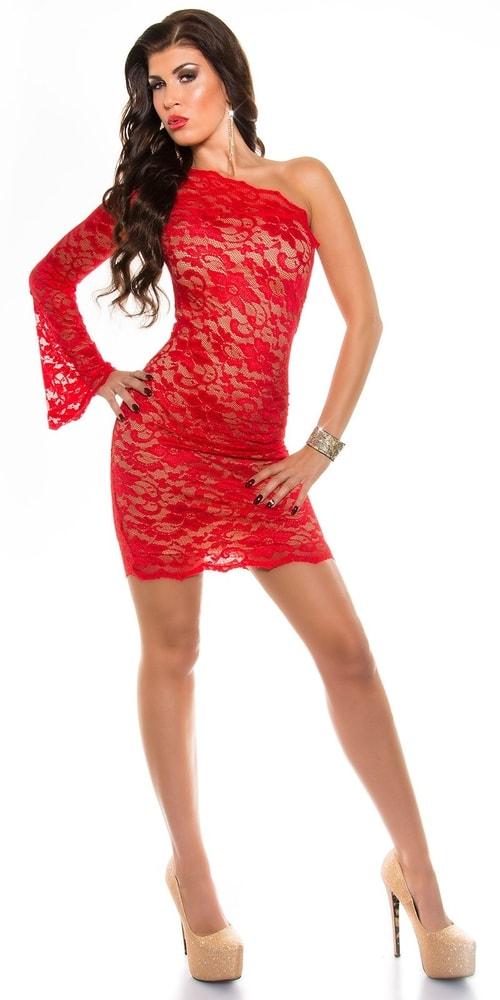 Červené čipkované šaty - Koucla - Večerné šaty a koktejlové šaty ... 7dcdcfd2af3