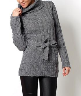 ... Dámske tuniky a blúzky Tuniky Dámský delší svetr s páskem